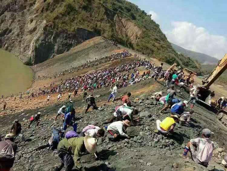 Tibetans who is picking up the stones after meteorite rain