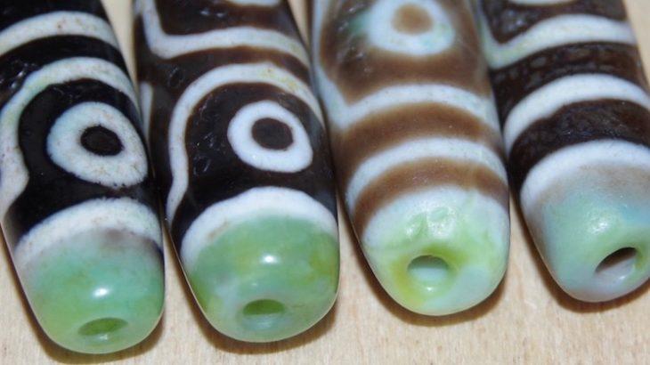 Rare emerald dZi beads
